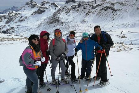 excursões com raquetes de neve em Val di Fassa